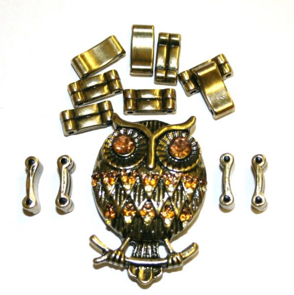 Antique Brass Owl Pendant Ring Kit 12 Pieces & Elastic 1 piece - S.F07 - WA211 - Amber 1411130